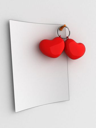 White note on white board with hearts photo