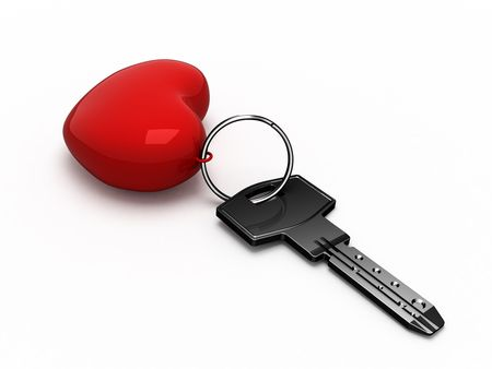 Key with red heart Stock Photo - 2698457