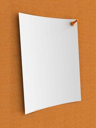 lustre: White note on cork board