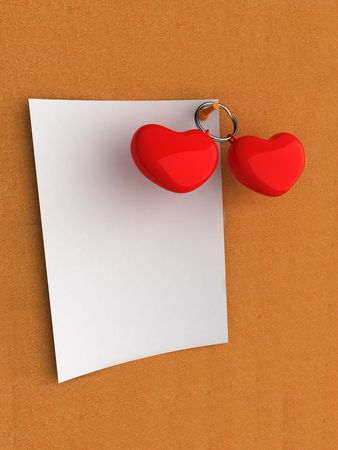 White note on cork board with hearts photo