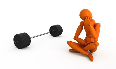Orange mannequin with weight. Isolated. Stock Photo - 2698460