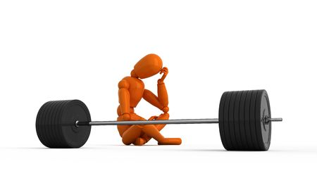 Orange mannequin with weight. Isolated.