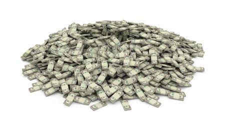 Isolierte Heap von Geld-stacks Standard-Bild