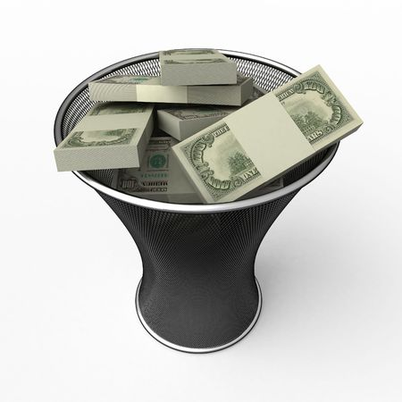 lustre: Money in waste basket. Isolated.