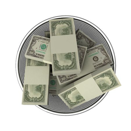 waste basket: Money in waste basket. Isolated.
