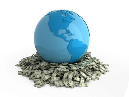 Isolated blue globe on heap of money