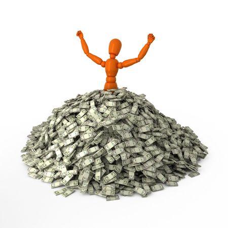 Orange mannequin in heap of money
