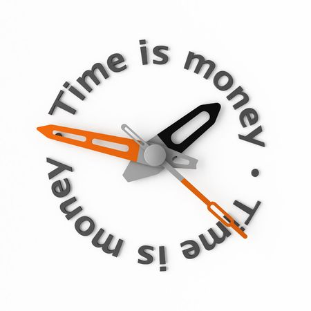 zeal: Clock-face with text. Isolated.