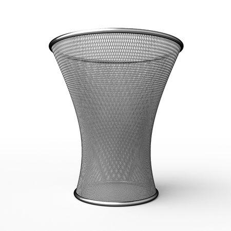 Steel waste basket on white background Stock Photo