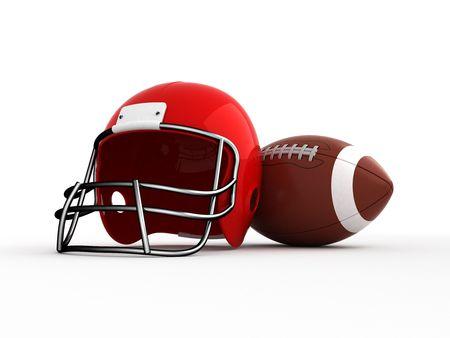 casco rojo: El fútbol americano. Casco y la pelota. Aislados.