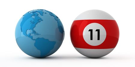 Isolated blue globe and pool ball.