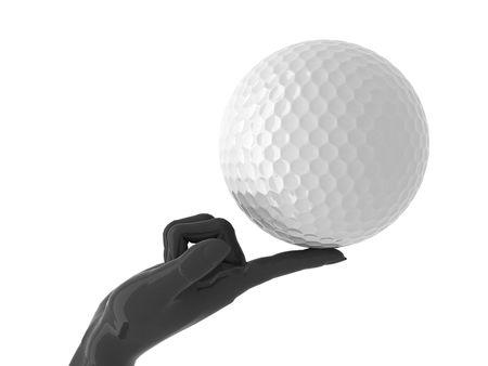 집게 손가락: Golf ball on forefinger. Isolated.
