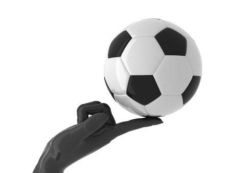 sports symbols metaphors: Soccer ball on forefinger. Isolated.