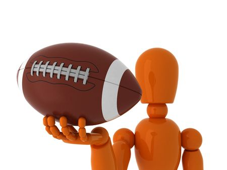 afc: Orange mannequin with american ball. Isolated.