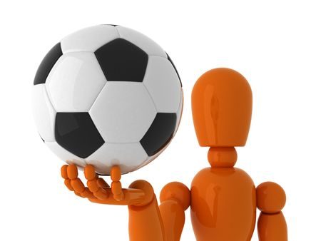 sports symbols metaphors: Orange mannequin with soccer ball. Isolated.