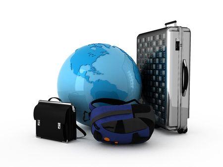 Luggage and blue globe. Isolated.