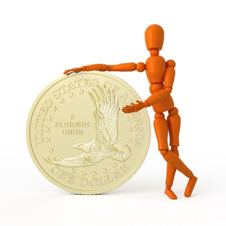 one us dollar coin: Orange mannequin with dollar coin.