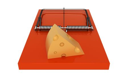 Orange mousetrap with cheese. On a white background. photo