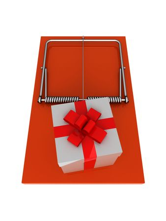 bait box: Orange mousetrap with gift. On a white background. Stock Photo