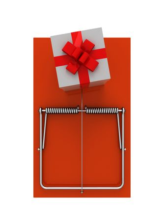 mousetrap: Orange mousetrap with gift. On a white background. Stock Photo