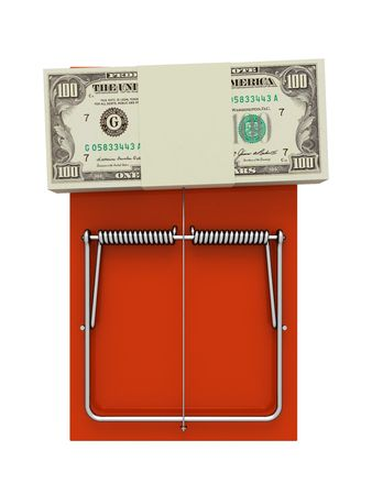 mousetrap: Orange mousetrap with money. On a white background. Stock Photo