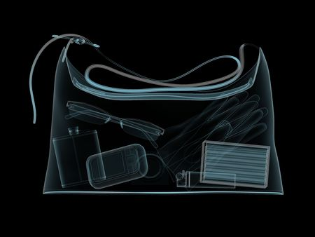 gamma: X-ray photography of womans handbag