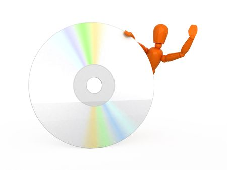 Orange mannequin and optical disk. Isolated. Stock Photo - 5206705