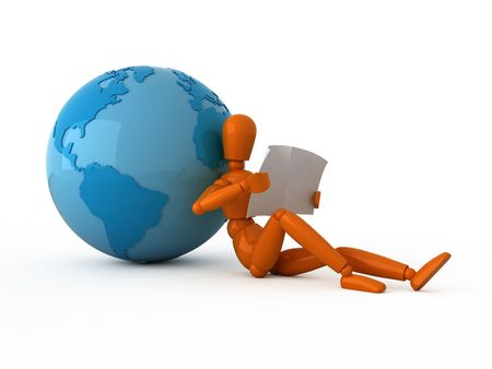 Orange mannequin with a newspaper and blue globe. Isolated. photo