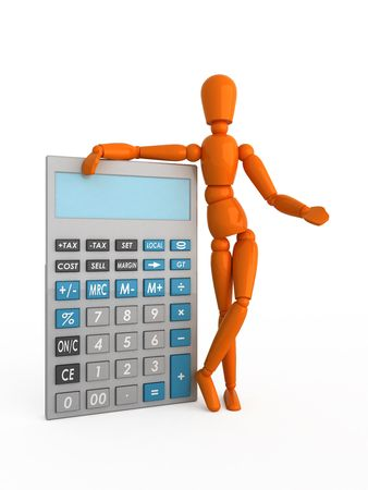 Orange mannequin with the calculator. Isolated. Stock Photo - 5206708