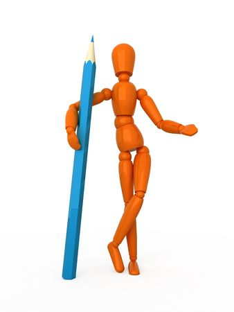 Orange mannequin with blue pencil. Isolated. photo