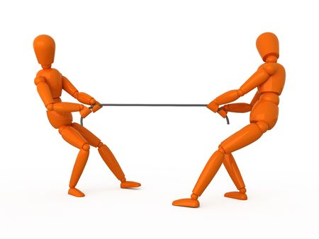 tug of war: Two orange mannequins pull a rope to opposite directions. Isolated.
