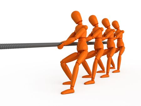 Four orange mannequins pull a rope. Isolated. Stock Photo - 5206682