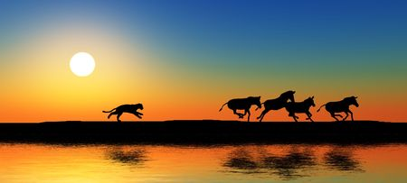 lion silhouette: Black animal silhouettes by a river. Stock Photo