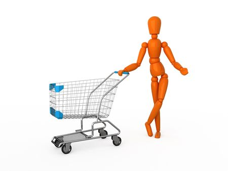 ornage: Ornage mannequin with shopping cart. Isolated.