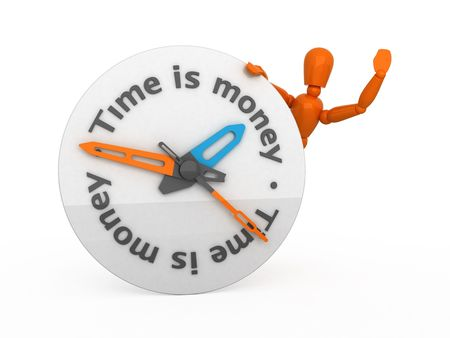 clockface: Orange mannequin and clock-face. Isolated. Stock Photo