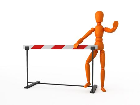 Orange mannequin and striped barrier. Isolated. photo