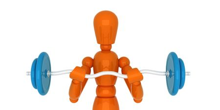 Orange mannequin with weight. Isolated. Stock Photo - 5206699