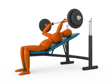Orange mannequin with weight. Isolated. Stock Photo - 5206679