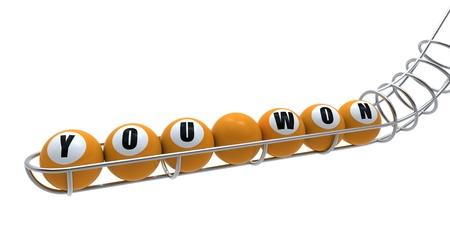 lottery win: Lottery balls.
