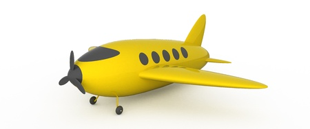 Yellow ariplane on white background. Stock Photo