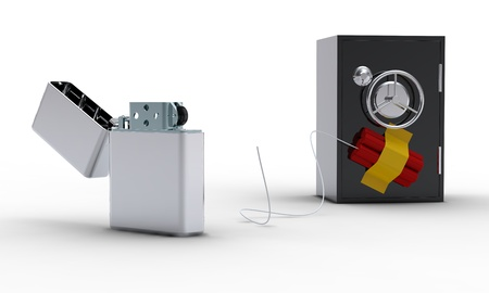 lockbox: Zippo lighter, safe and dynamite on white background Stock Photo