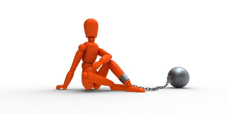 fetter: Orange mannequin and metal irons.