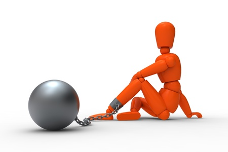 shackles: Orange mannequin and metal irons.