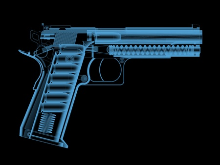 radiological: X-ray of a pistol with bullets