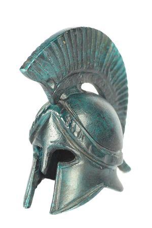 spartano: Classica greco antico elmo della cooperazione isolati su bianco