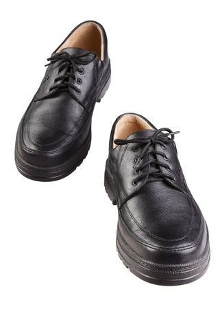 simulate: Simple black shoes simulate walking