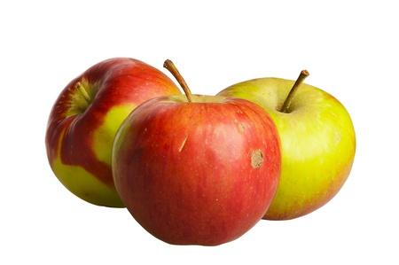 unpretentious: Three simple apples isolated on white Stock Photo