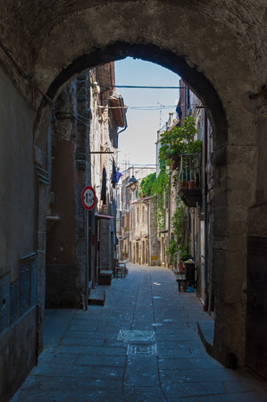 BAGNAIA (Viterbo), ITALY - 17 JULY 2016 - A medieval town beside city of Viterbo, Lazio region, with the famous and touristic garden of Villa Lante Editorial