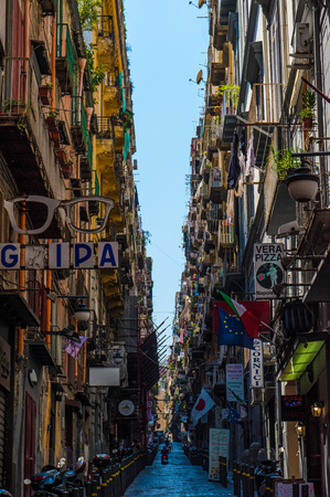 NAPLES, ITALY - 8 AUGUST 2015 - Characteristic places of the biggest city of south Italy