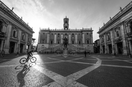 ROME, ITALY - APRIL 10 2016 - A recent visit to Rome, the capital of Italy. In this picture: Capitol Square Editorial